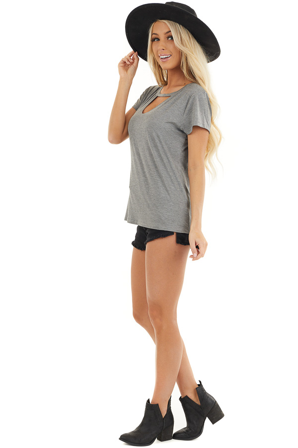 Stone Grey Short Sleeve Top with Front Cutout Detail side full body