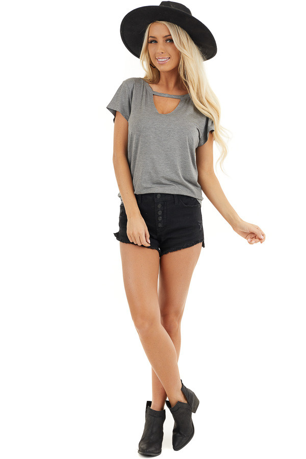 Stone Grey Short Sleeve Top with Front Cutout Detail front full body