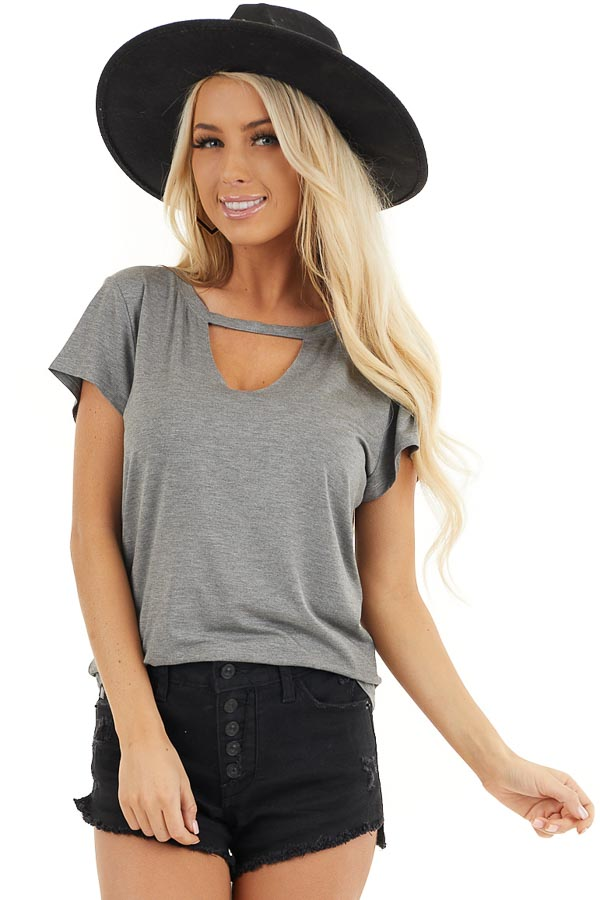 Stone Grey Short Sleeve Top with Front Cutout Detail front close up