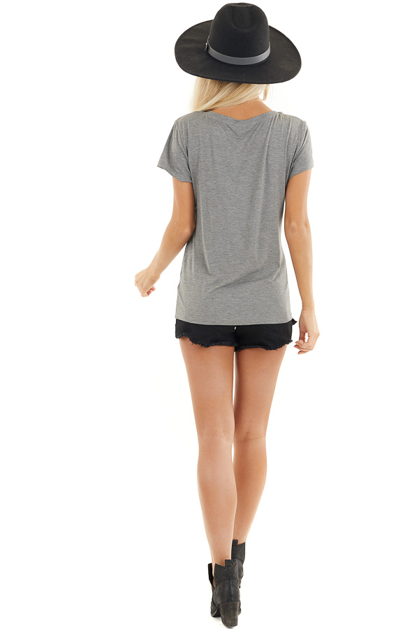 Stone Grey Short Sleeve Top with Front Cutout Detail back full body