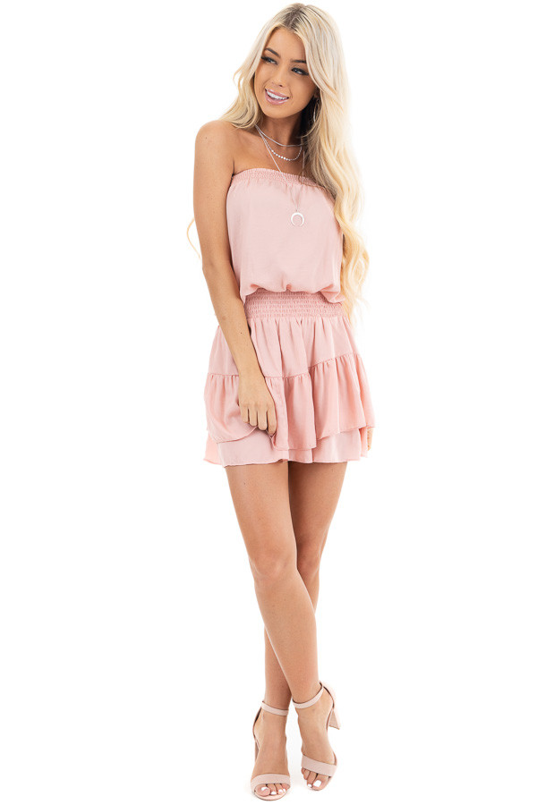 Dusty Blush Smocked Mini Dress with Ruffle Detail front full body