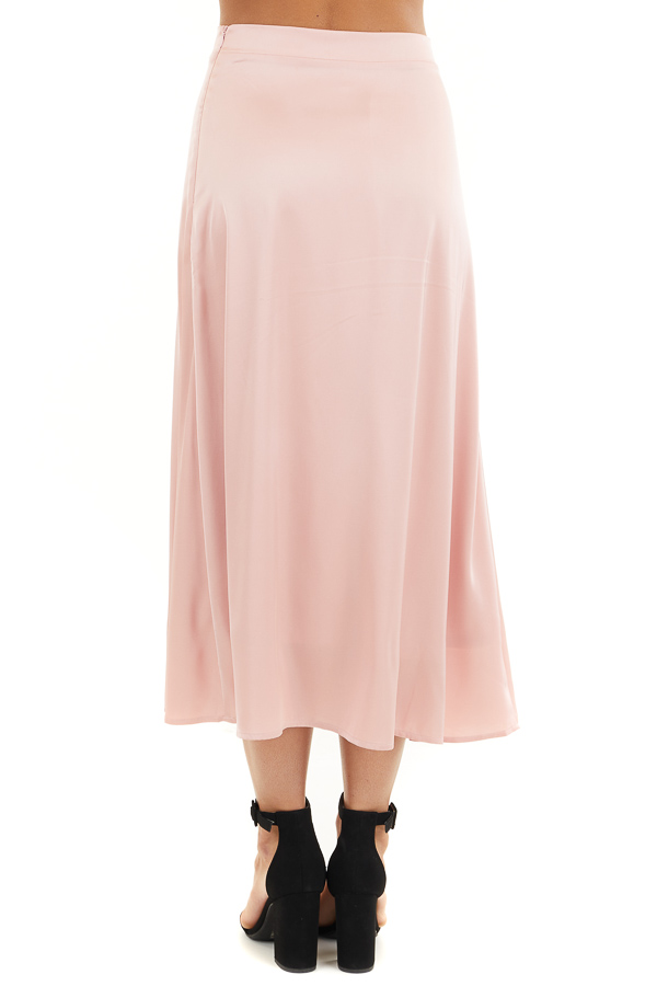 Blush Pink Lined Satin Midi Skirt back view