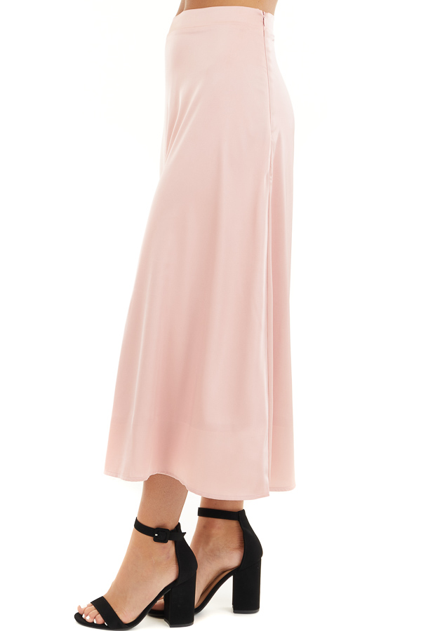 Blush Pink Lined Satin Midi Skirt side view