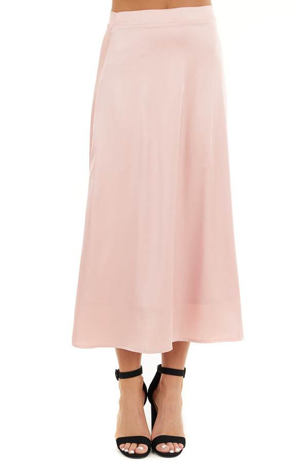 Blush Pink Lined Satin Midi Skirt front view