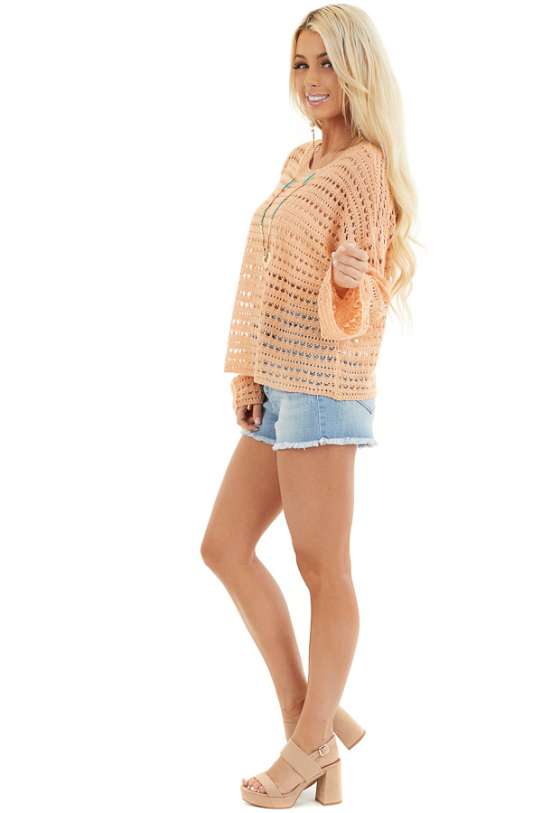 Peach Crochet Knit Sweater Top with Long Sleeves side full body