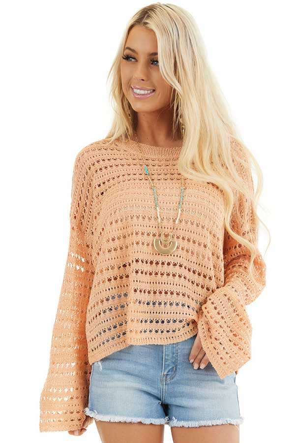 Peach Crochet Knit Sweater Top with Long Sleeves front close up