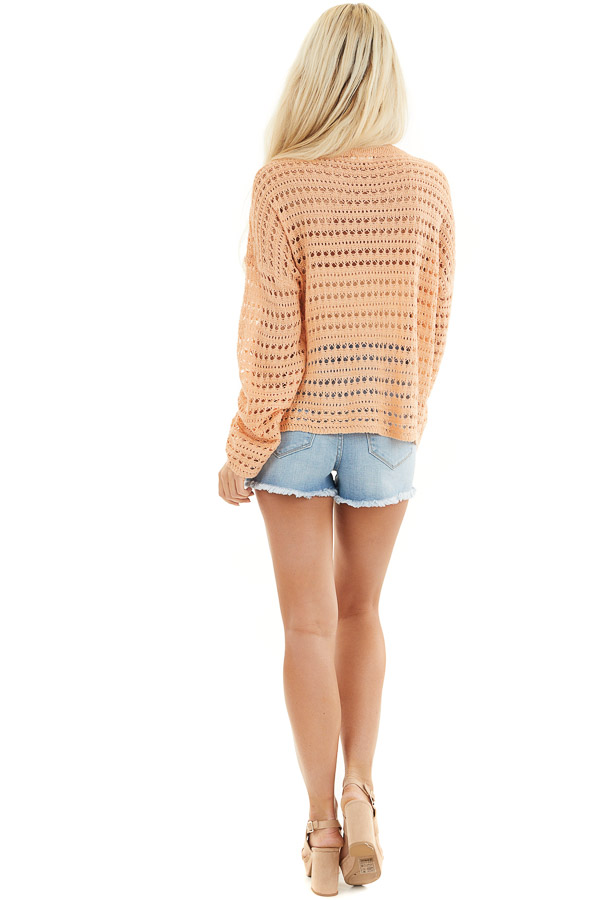 Peach Crochet Knit Sweater Top with Long Sleeves back full body