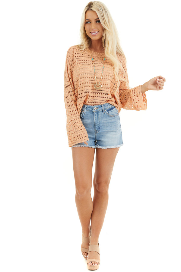 Peach Crochet Knit Sweater Top with Long Sleeves front full body