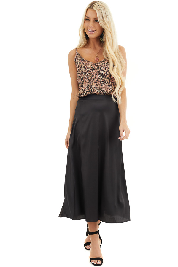 Black Lined Satin Midi Skirt front full body
