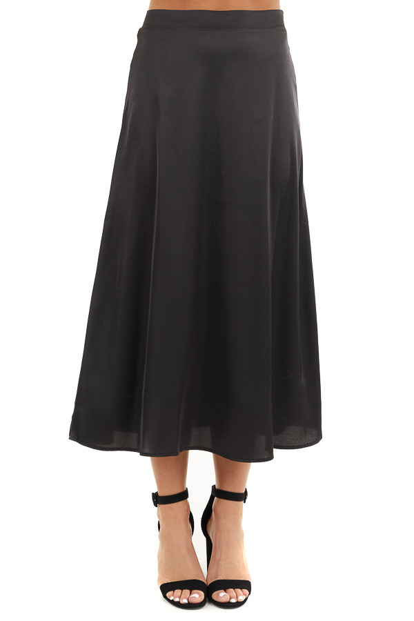 Black Lined Satin Midi Skirt front view