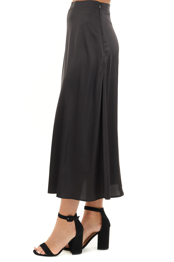 Black Lined Satin Midi Skirt side view