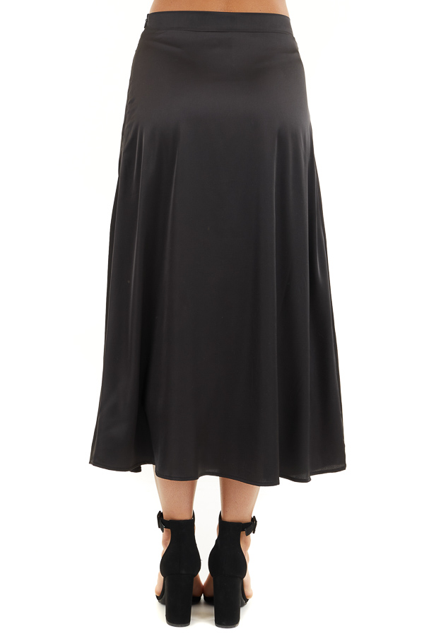 Black Lined Satin Midi Skirt back view