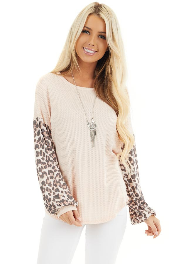 Peach Waffle Knit Top with Leopard Print Long Bubble Sleeves front close up
