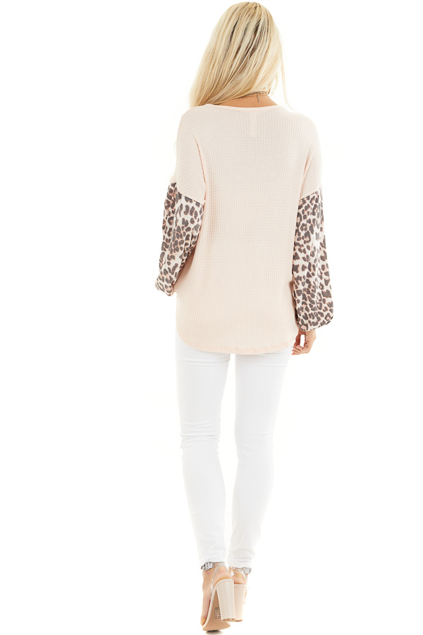 Peach Waffle Knit Top with Leopard Print Long Bubble Sleeves back full body
