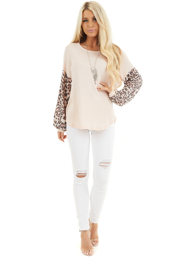 Peach Waffle Knit Top with Leopard Print Long Bubble Sleeves front full body