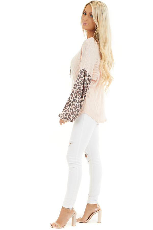 Peach Waffle Knit Top with Leopard Print Long Bubble Sleeves side full body