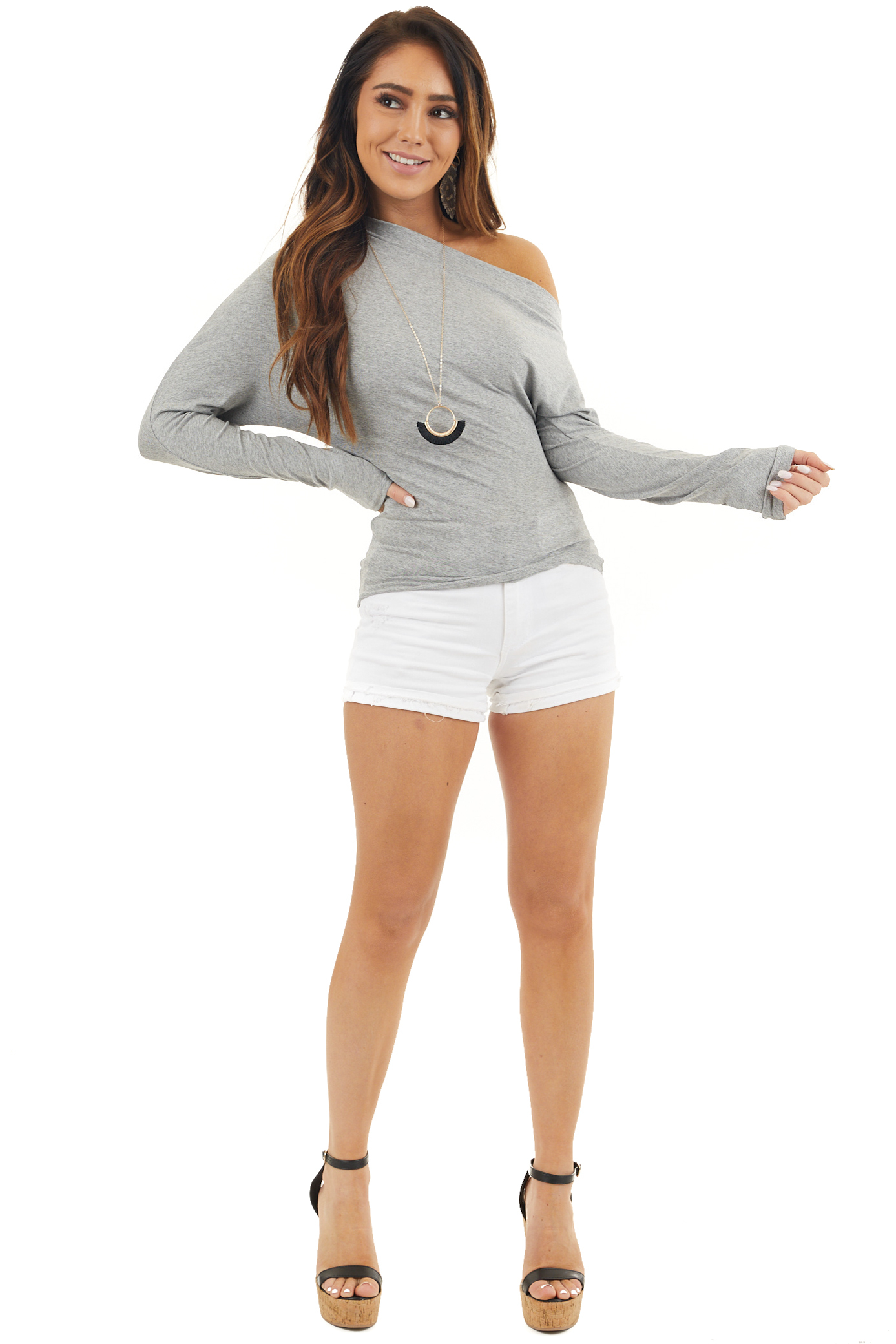 Grey Off the Shoulder Long Sleeve Top with Side Ruching