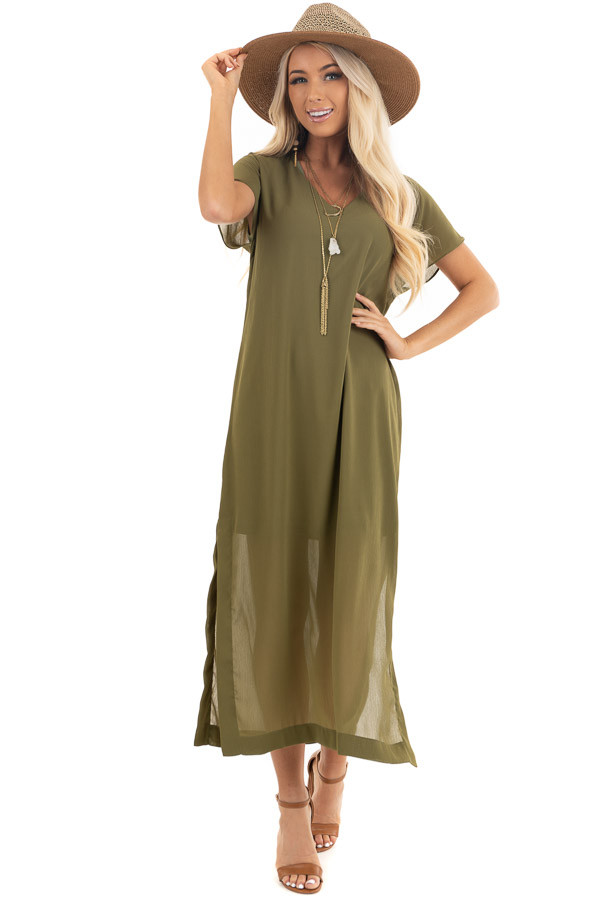 Light Olive Short Sleeve Lined Maxi Dress with Side Slits front full body