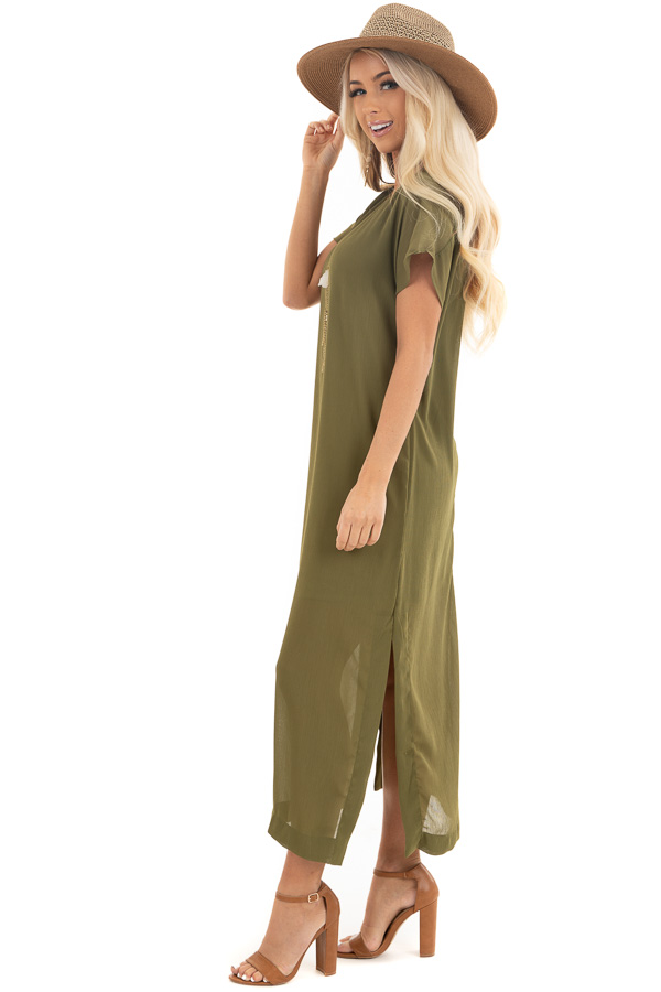 Light Olive Short Sleeve Lined Maxi Dress with Side Slits side full body
