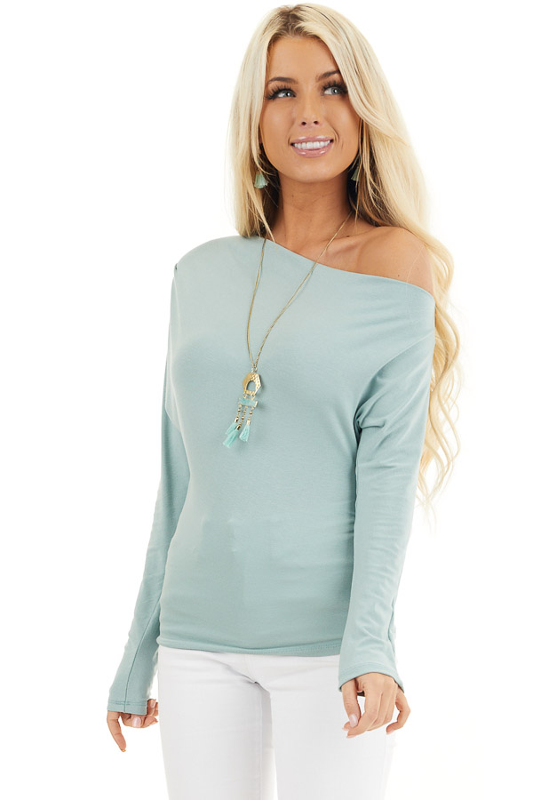 Seafoam Off the Shoulder Long Sleeve Top with Side Ruching front close up