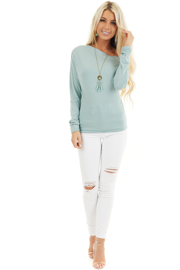 Seafoam Off the Shoulder Long Sleeve Top with Side Ruching front full body