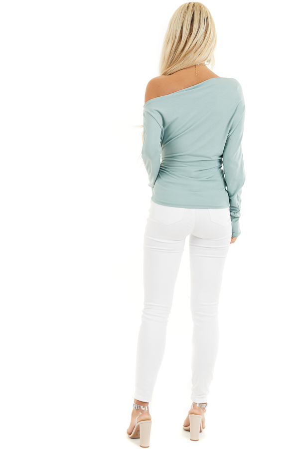 Seafoam Off the Shoulder Long Sleeve Top with Side Ruching back full body