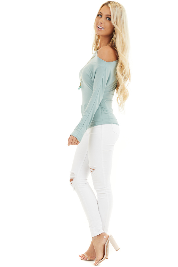 Seafoam Off the Shoulder Long Sleeve Top with Side Ruching side full body