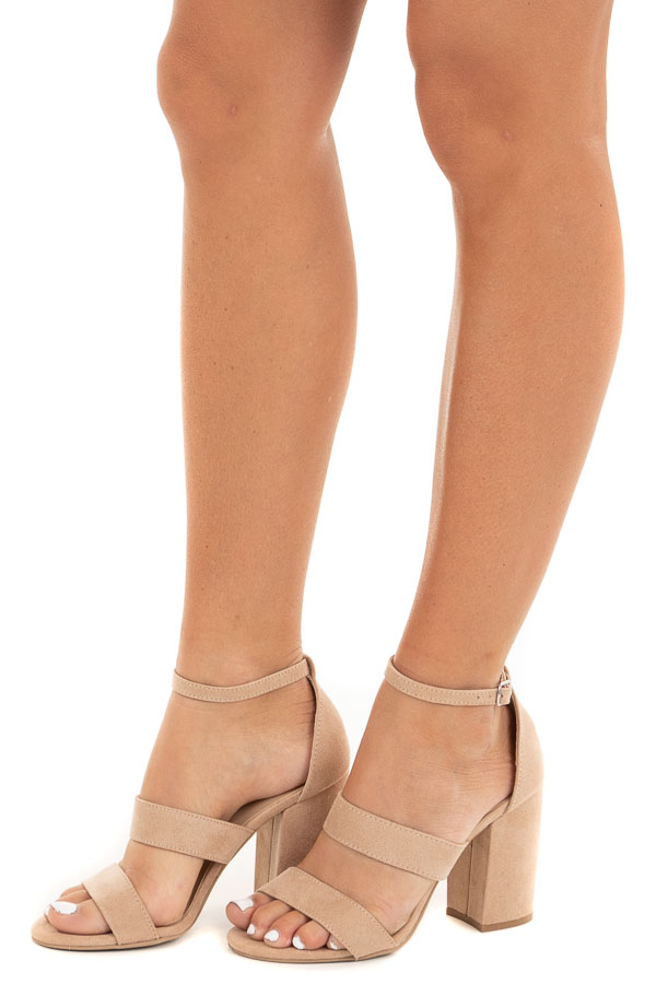Beige Faux Suede Strappy High Heel with Buckle Closure side view