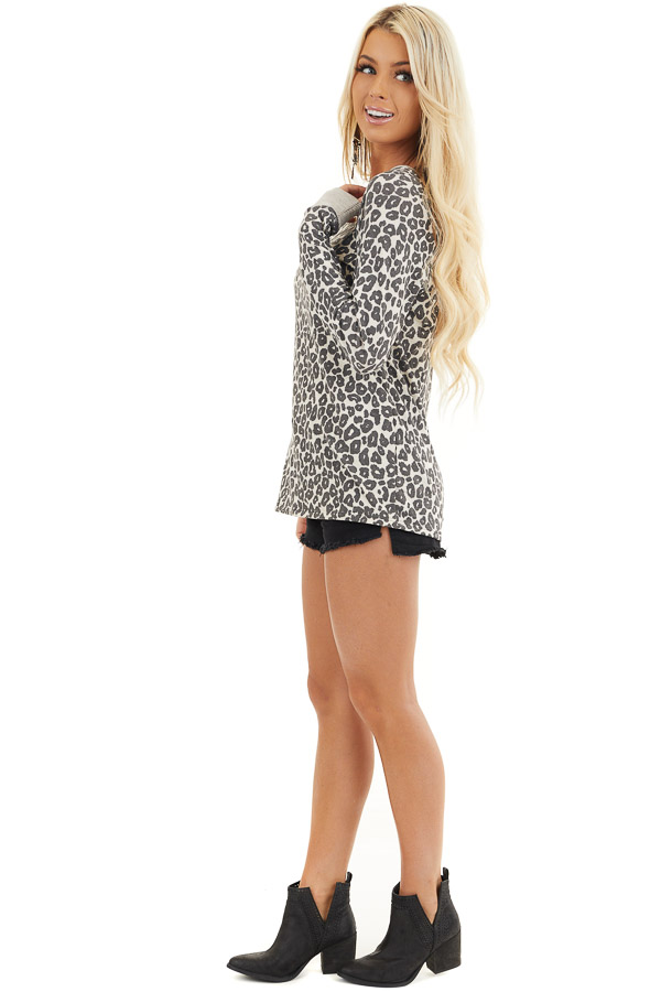 Cloud Grey Leopard Print Long Sleeve Top with Ribbed Cuffs side full body