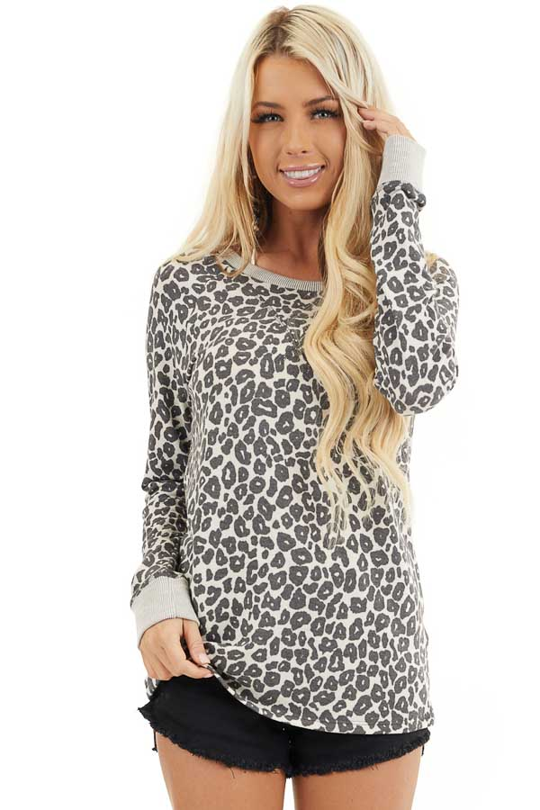 Cloud Grey Leopard Print Long Sleeve Top with Ribbed Cuffs front close up