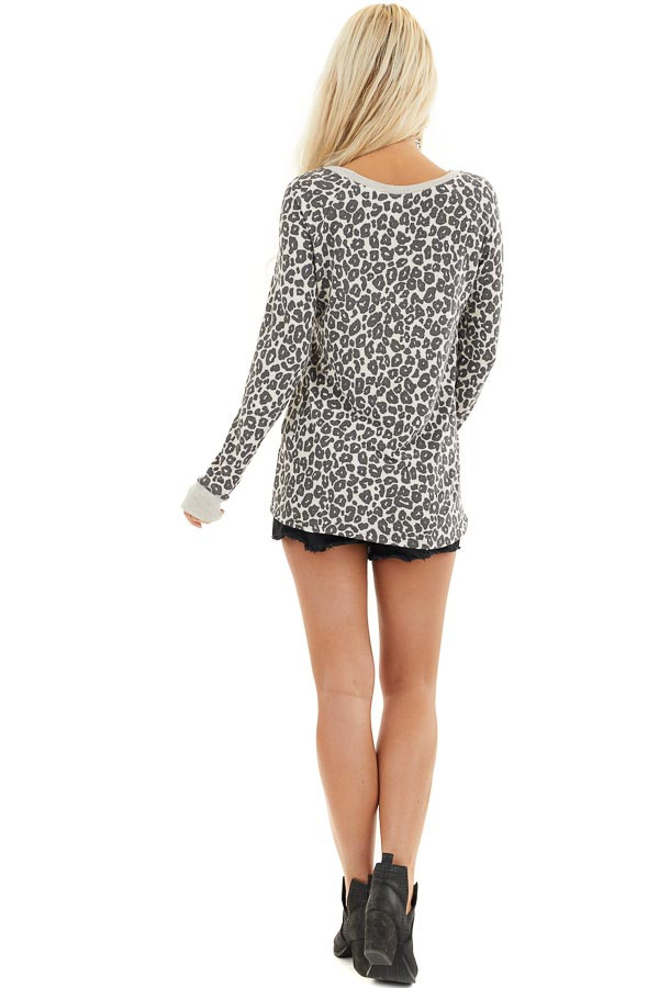 Cloud Grey Leopard Print Long Sleeve Top with Ribbed Cuffs back full body