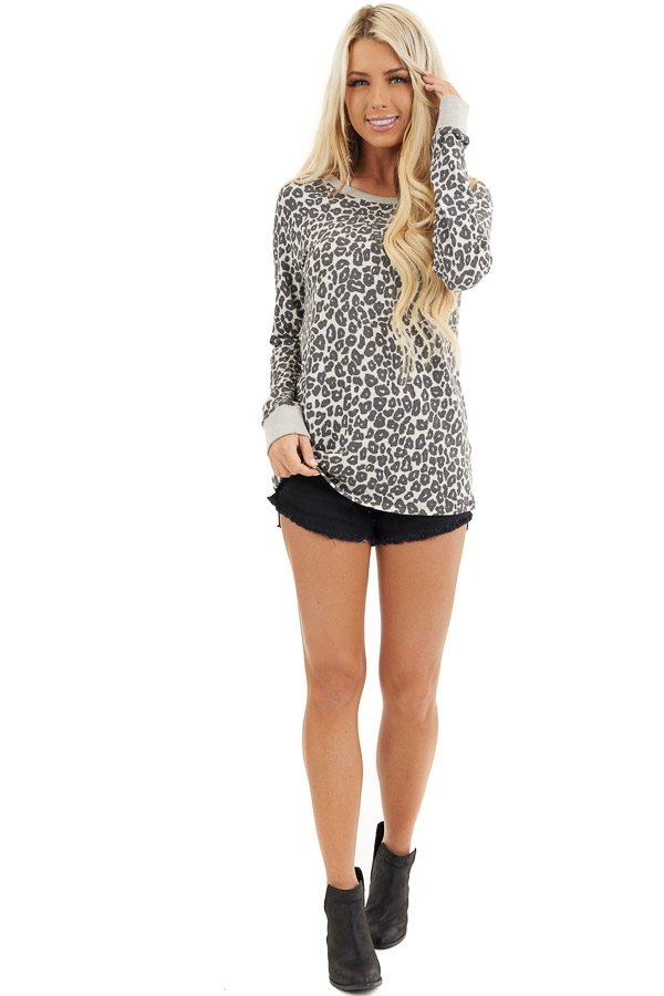 Cloud Grey Leopard Print Long Sleeve Top with Ribbed Cuffs front full body