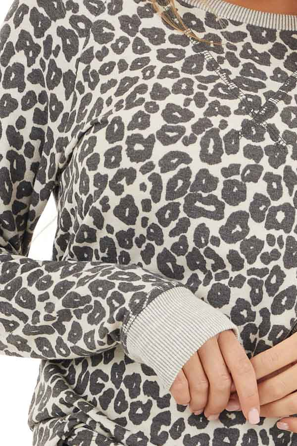 Cloud Grey Leopard Print Long Sleeve Top with Ribbed Cuffs detail