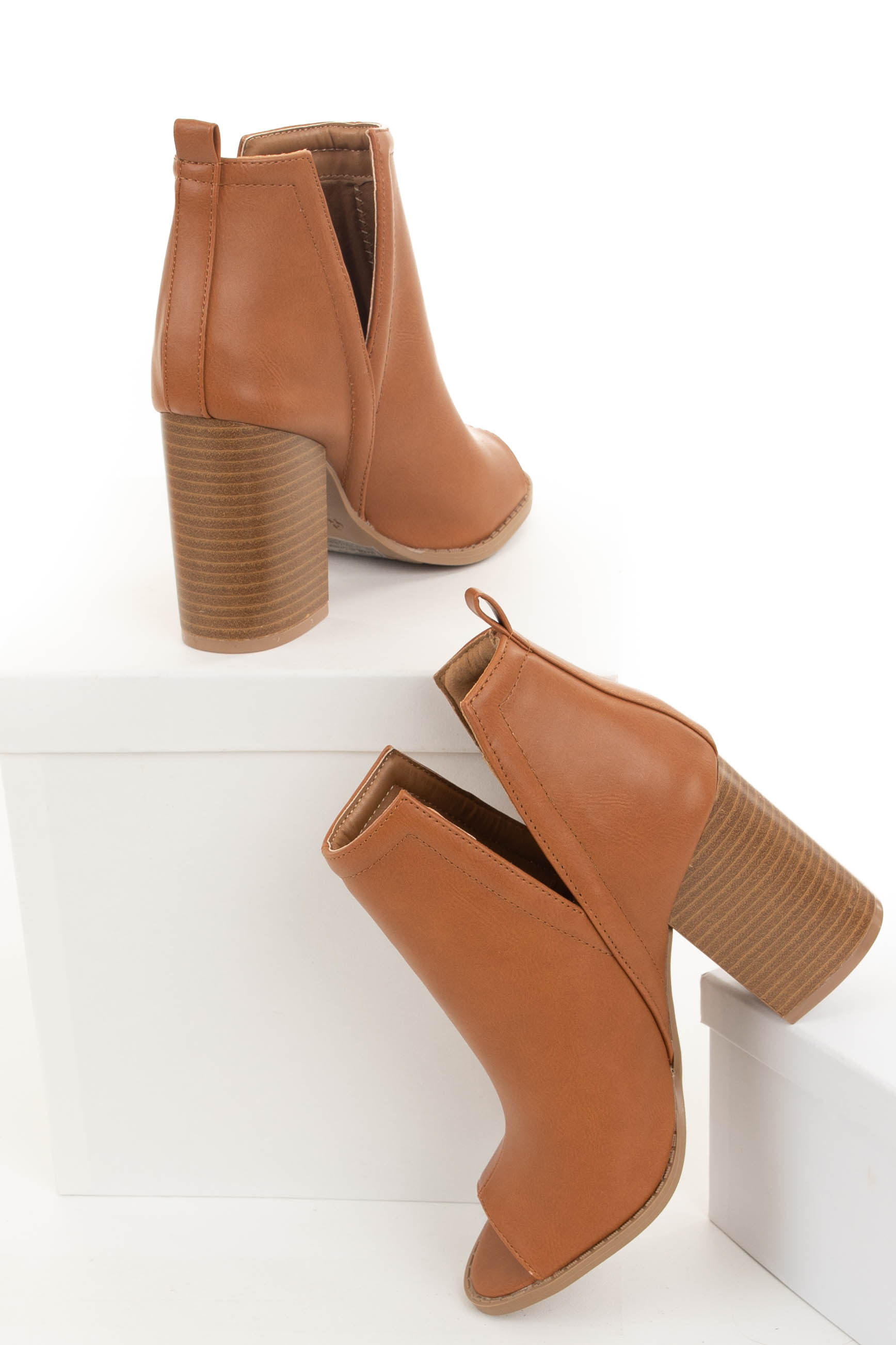 Camel Faux Leather Open Toed Heels with Side Slits