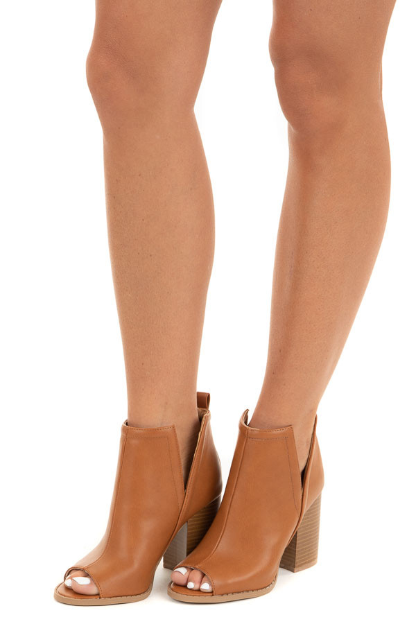Camel Faux Leather Open Toed Heels with Side Slits side view