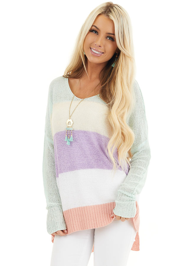 Multicolor Lightweight Striped Sweater with Long Sleeves front close up
