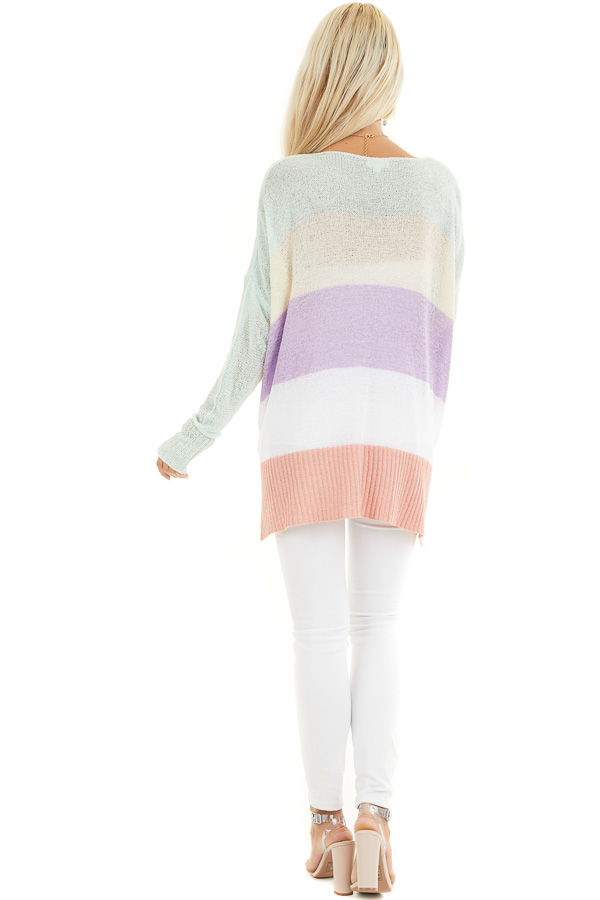 Multicolor Lightweight Striped Sweater with Long Sleeves back full body