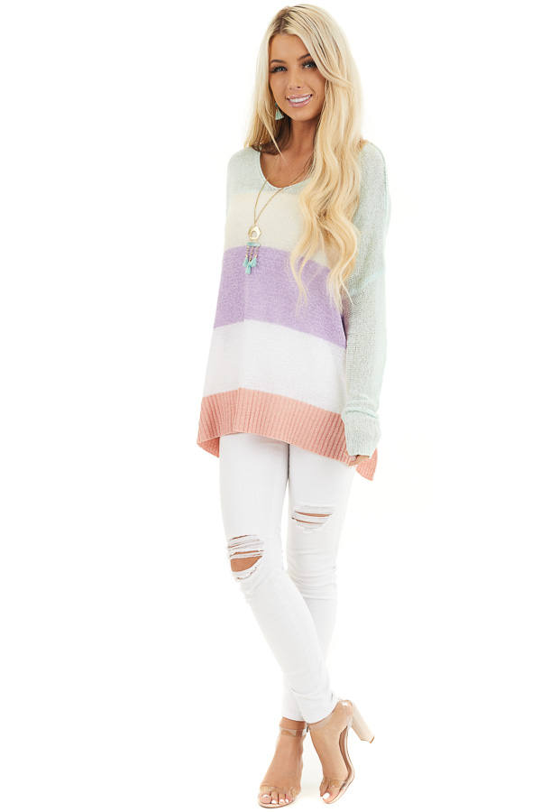 Multicolor Lightweight Striped Sweater with Long Sleeves front full body
