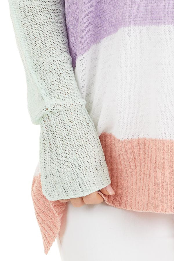 Multicolor Lightweight Striped Sweater with Long Sleeves detail