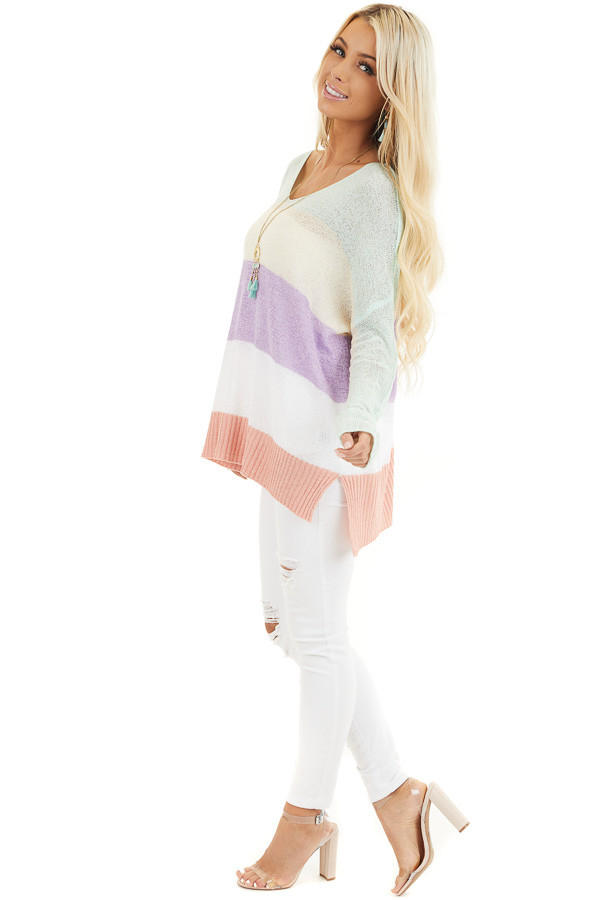 Multicolor Lightweight Striped Sweater with Long Sleeves side full body