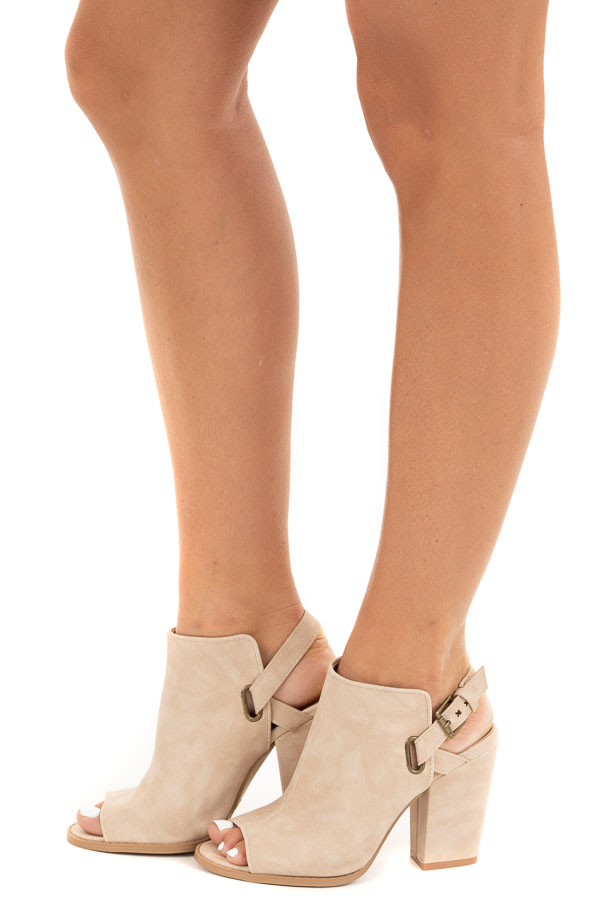 Beige Peep Toe Booties with Brass Buckle Detail side view