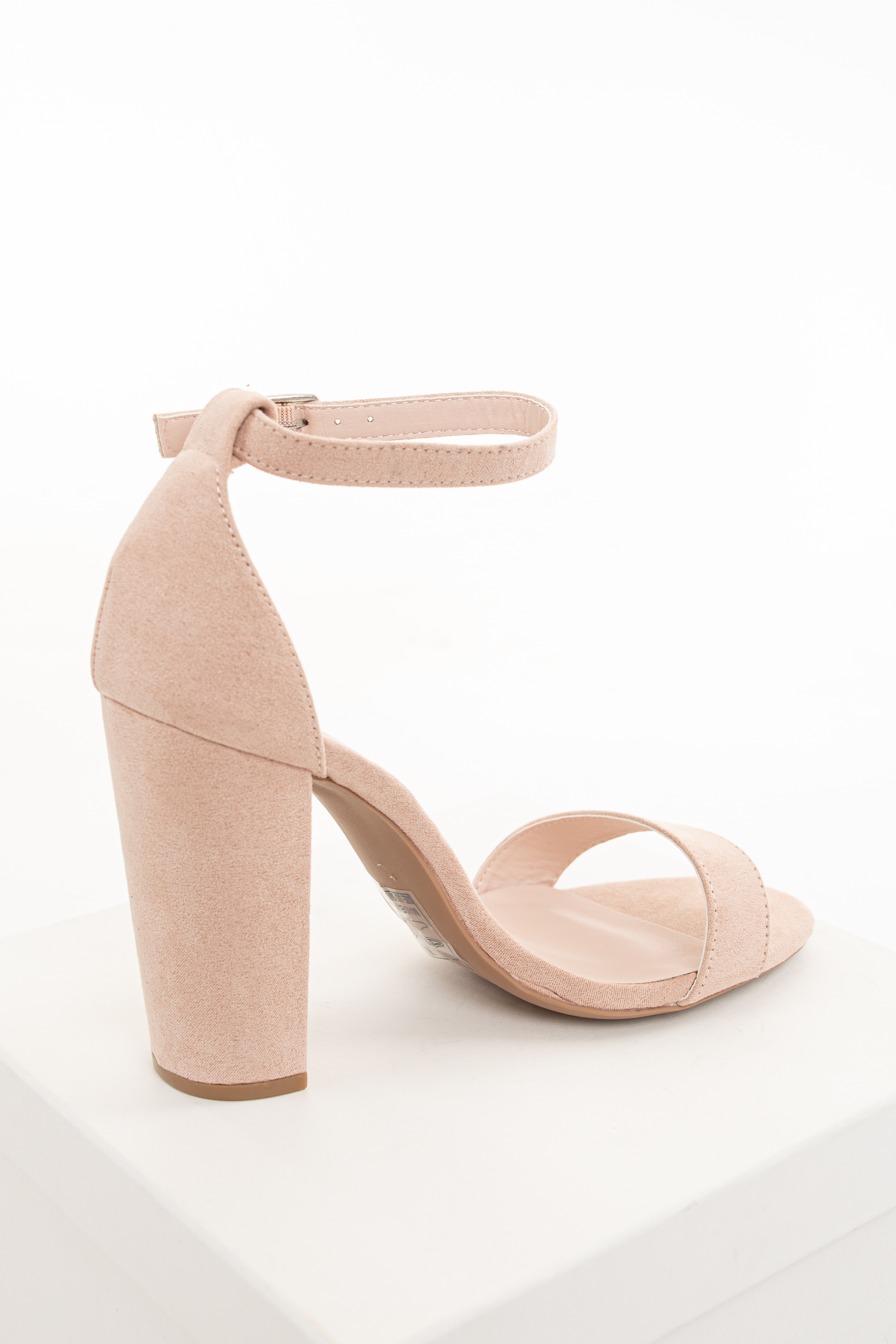 Blush Faux Suede One Strap High Heel with Buckle Closure