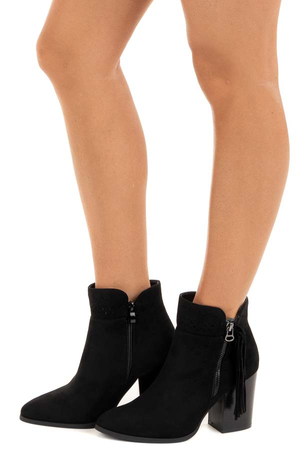 Black High Heel Booties with Tassel and Perforated Details side view