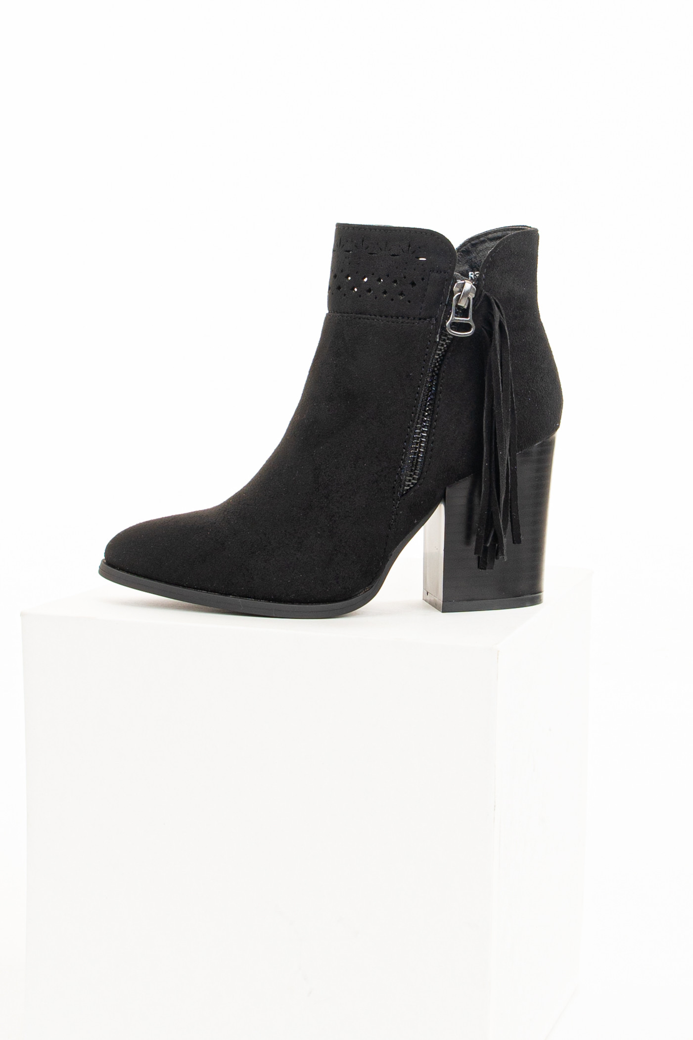 Black High Heel Booties with Tassel and Perforated Details