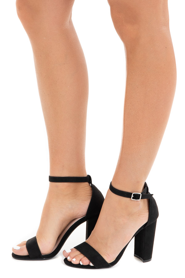 Black Faux Suede One Strap High Heel with Buckle Closure side view