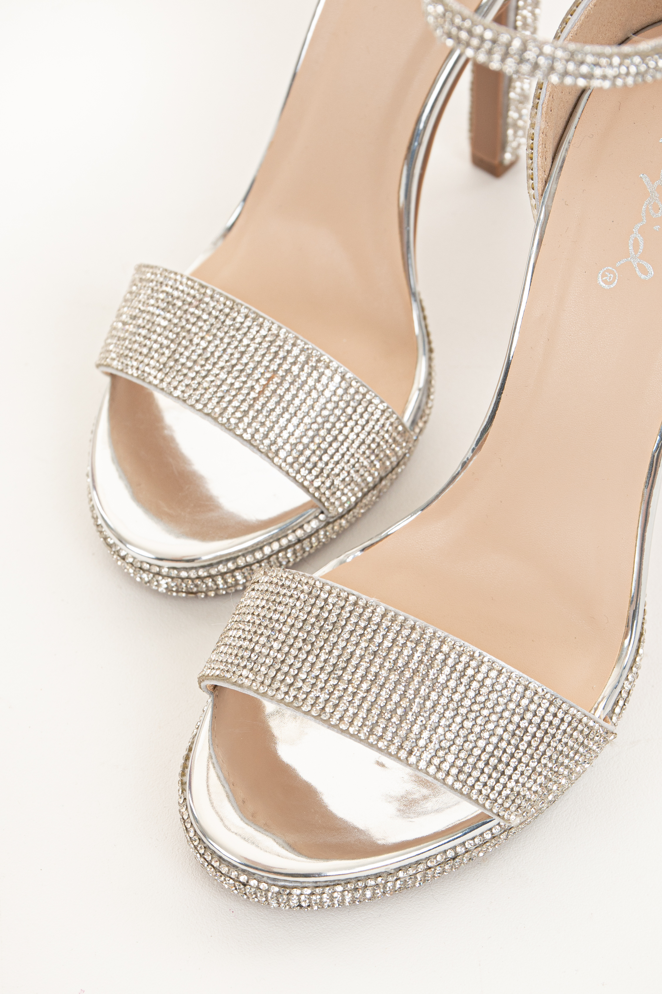 Silver Rhinestone Open Toe Heels with One Strap and Buckle