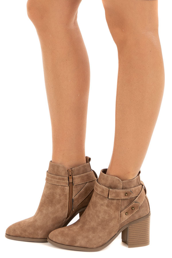 Dusty Toffee Heeled Bootie with Strap and Stud Details side view