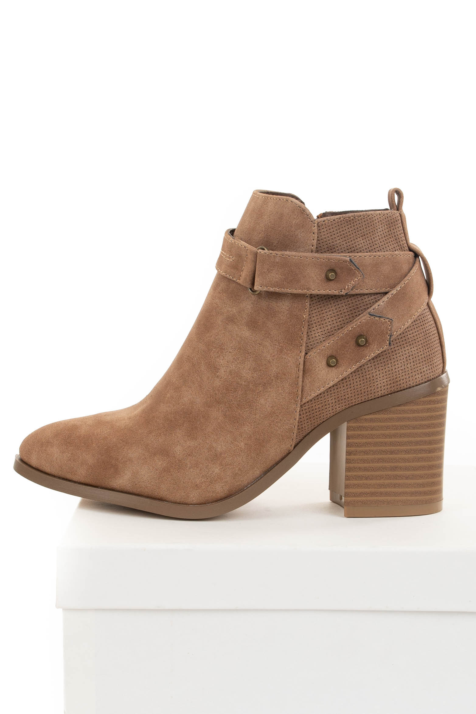 Dusty Toffee Heeled Bootie with Strap and Stud Details