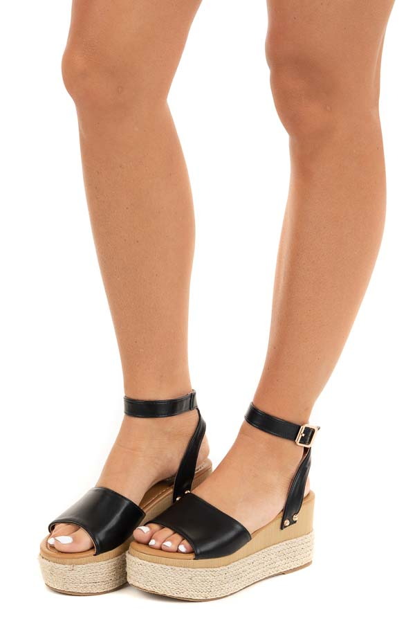 Black and Tan Espadrille Sandals with Gold Stud Details side view