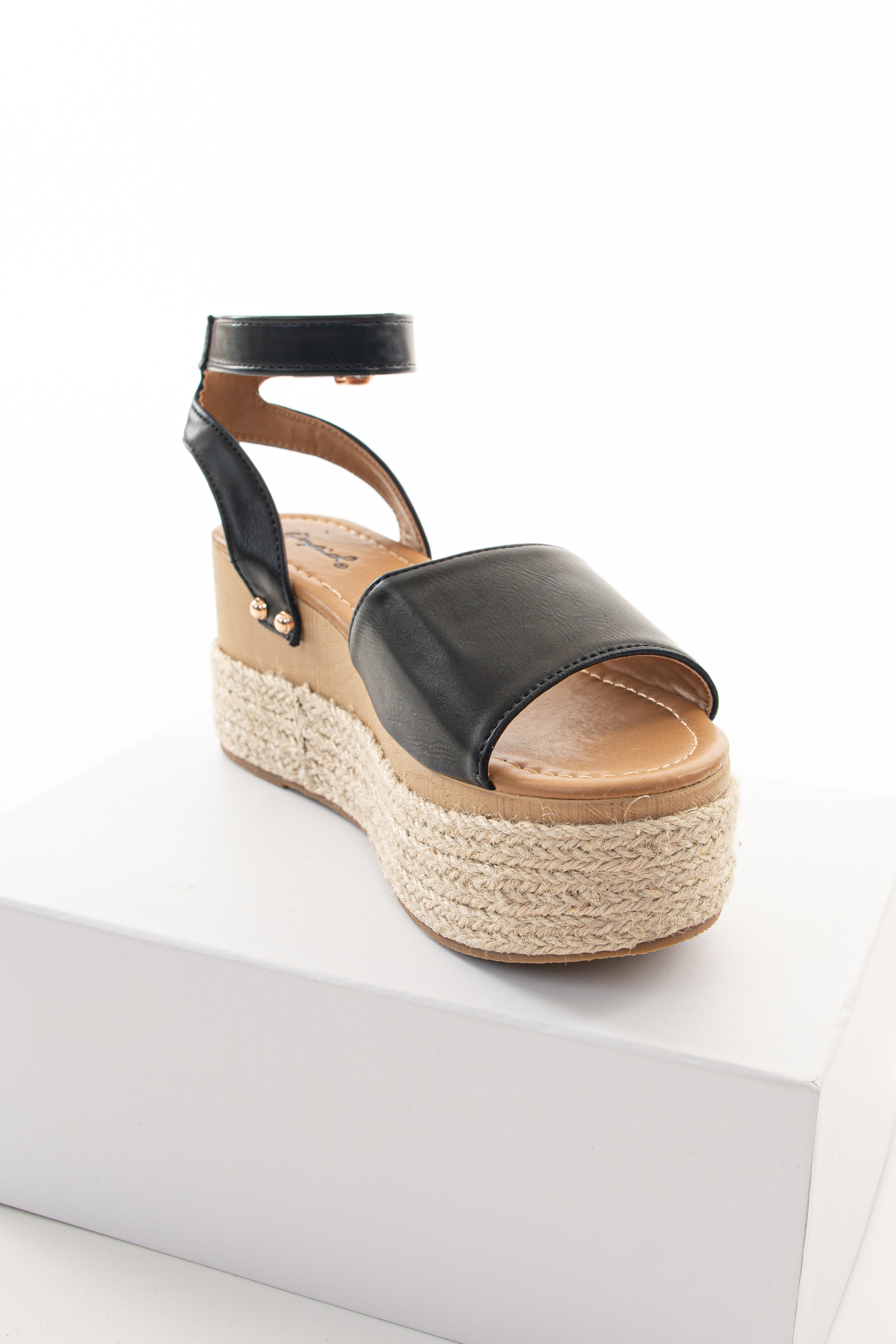 Black and Tan Espadrille Sandals with Gold Stud Details